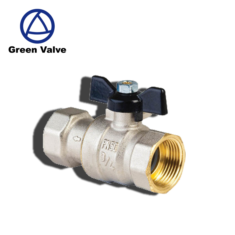 Gutentop GT2615 3/4'' full bore isolating colour butterfly handles nickel plated ball valves