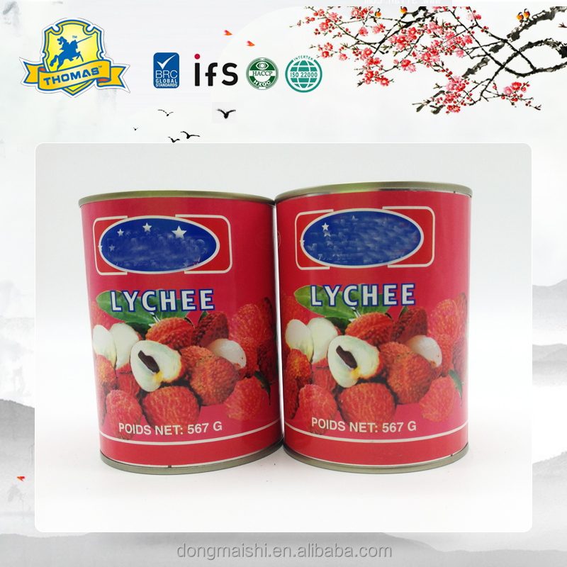 Canned fresh lychee in light syrup