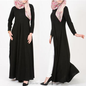 Fashion Islamic Clothing Latest Black Abayas Designs With Front Slit