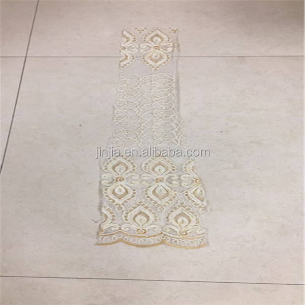 Hot sale cheap fancy chemical embroidery lace curtain fabric