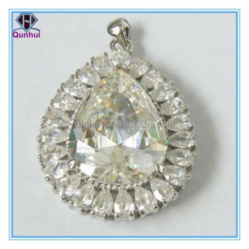 cubic zirconia necklace, white, 10x8mm faceted teardrop. Sold per pkg of 2.