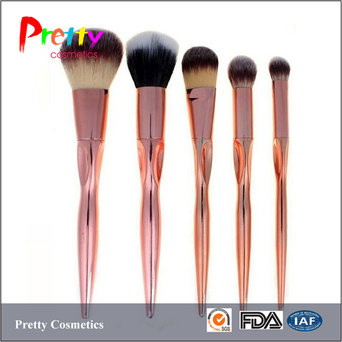 2017 new arrival 5pcs metal handle synthetic hair rose gold makeup brush set
