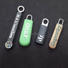 Soft Customized PVC rope Zipper Slider Puller with embossed logo For Sports Suits