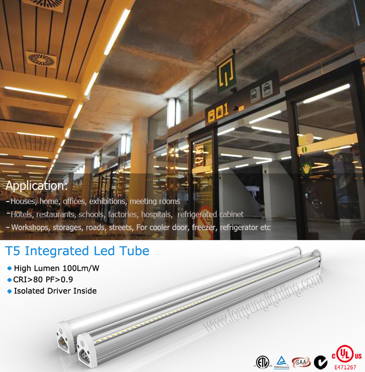 Garage Lighting Fluorescent Vs Led: Replacement Led T5 Integrated Tube Lamp With Plug Wire