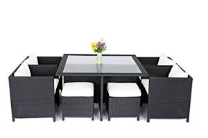 Modern Luxury Outdoor Rattan Furniture Cover 9-Piece Cube Square Dining Table Sectional FurnitureSet T018