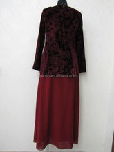 2015 new floral red brocaded pattern design flower abaya