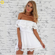 2018 Spring Wedding Party Dress Women White A Line Lace Sexy Dress Women Soild Off Shoulder Sexy Mini Dresses
