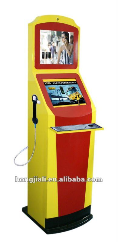 Dual Touch Screen Check-in Kiosk / Check-out Kiosk With Telephone And 64 Bytes Metal Keyboard