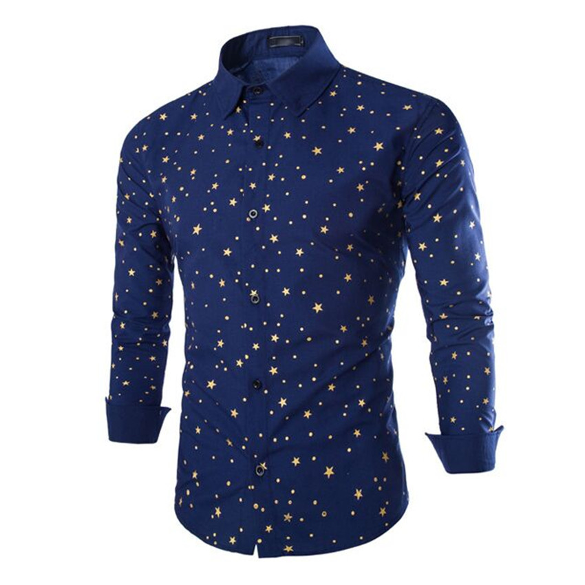 Star printed fashion New Brand Mens Dress Shirt Long Sleeve Cotton Male Business Casual Formal Shirts Slim Masculina Camisa