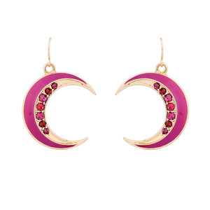 ed01601c Colorful Enamel Fashion Moon Pendant Earring For Girls