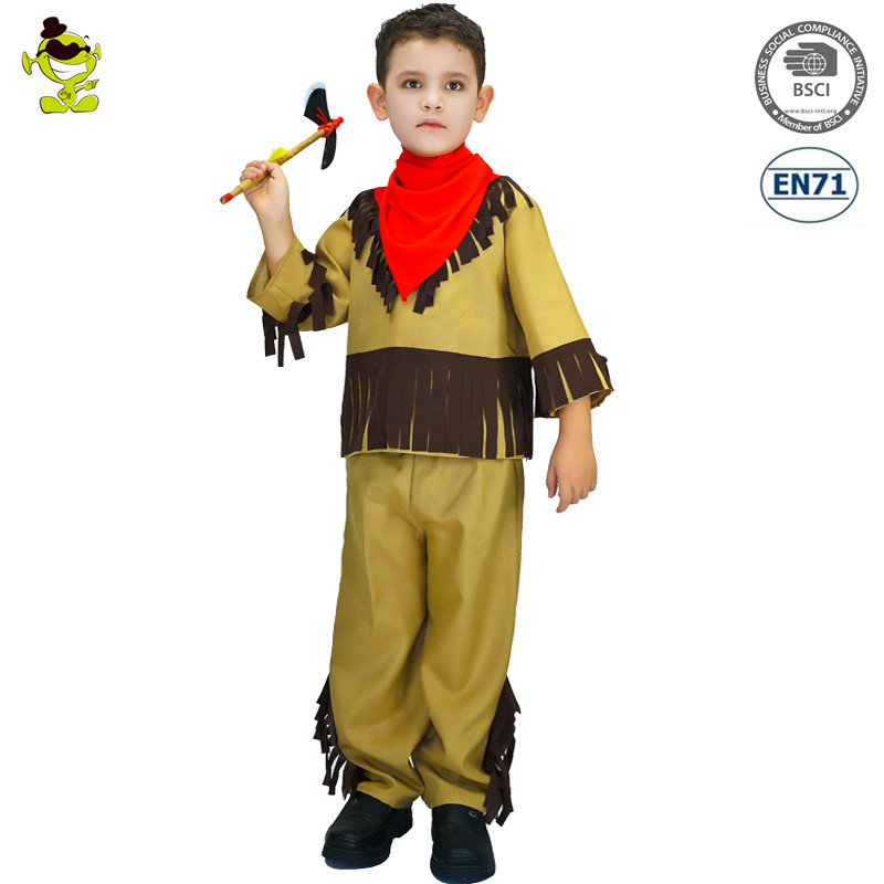 Kids Indian Natives Costumes Boys Halloween Carnival Party Ancient Woodsman Role Play Suits for Performance Party