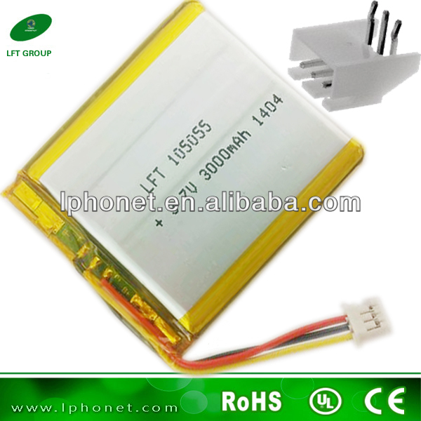 Flat Lithium Polymer Rechargeable Battery 3.7v 3000mah Lipo ...
