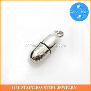 Healthy Pill Keeper Stainless Steel Capsule Pendant of Fashion Jewelry