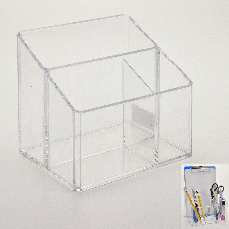 Fancy 3 way Clear acrylic makeup brush holder