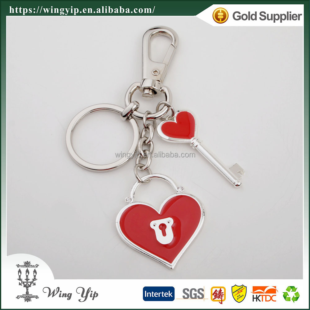 Wholesales Tailor made Heart Shape Blank Promotion metal Key Ring