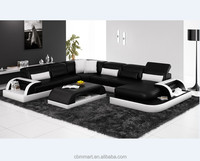30% Off 2018 Black & White design white color sectional sofa
