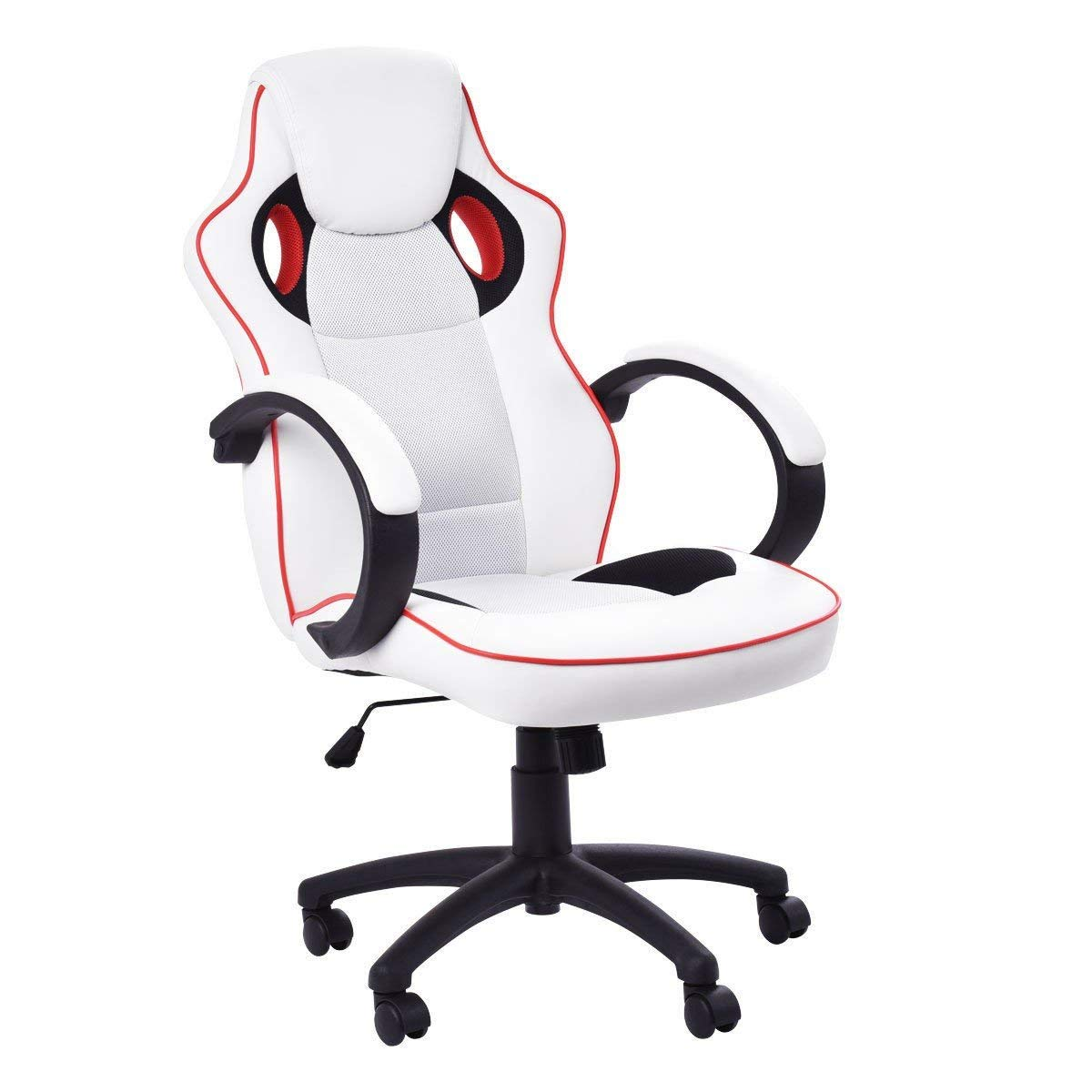 Svitlife White Executive High-Back Racing Style Office Chair Gaming Seat Desk Bucket Executive