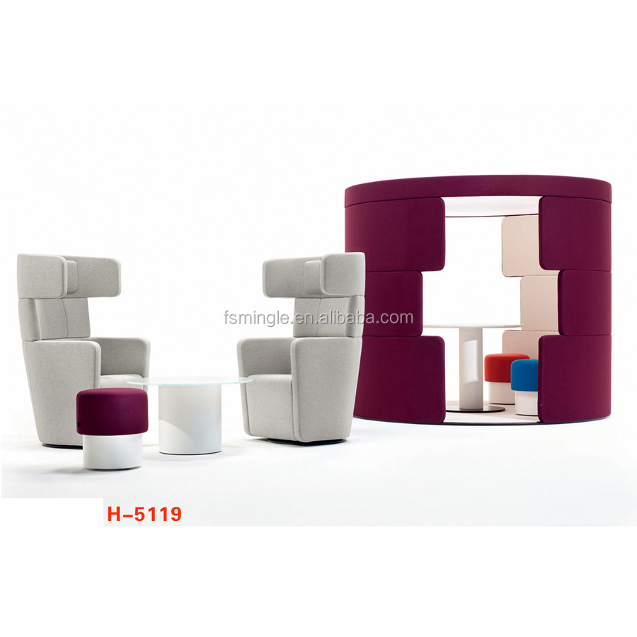 Public Leisure sofa seating with bench seating and poufs for shopping mall waiting area