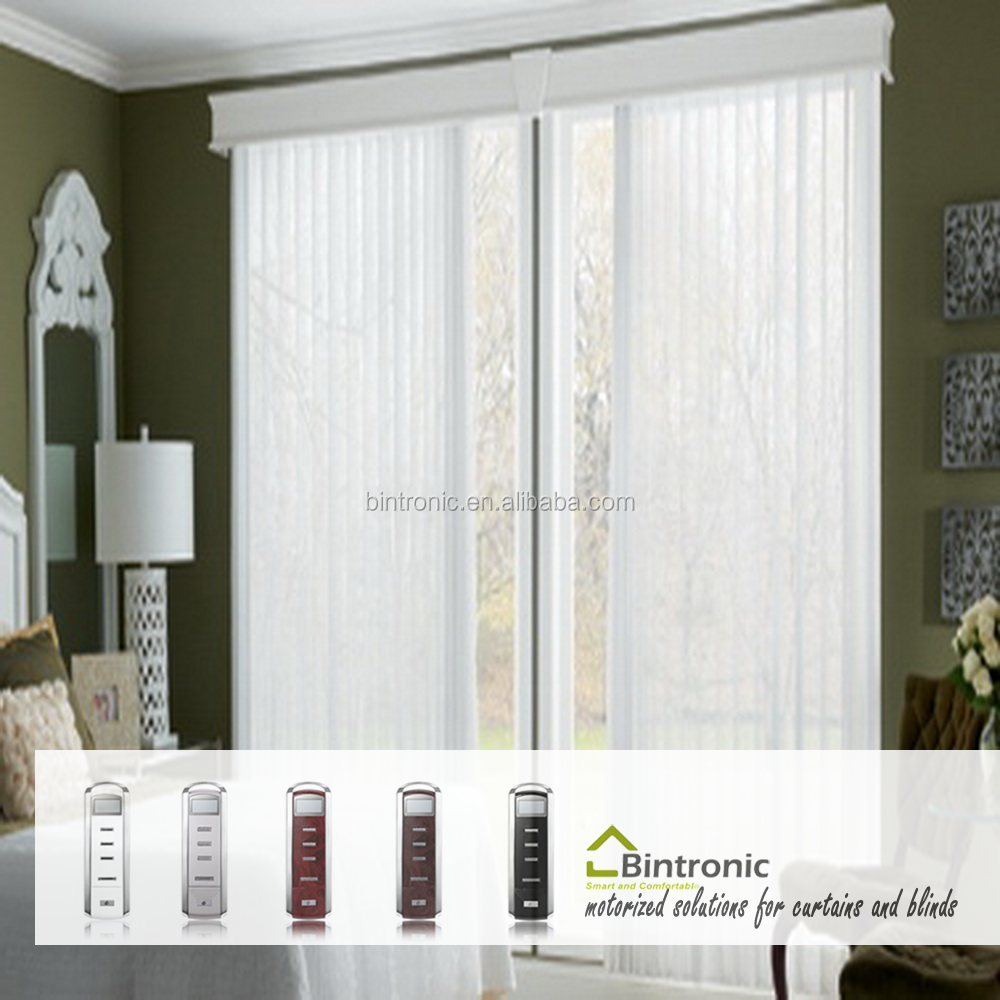 Bintronic Taiwan Home Decor Bedroom Curtain Motorized Vertical Blinds Electric Sun Shade Blind Track