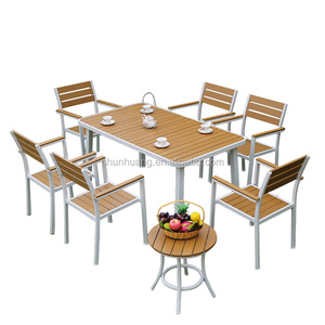outdoor wood furniture poly wood table and chair patio dining sets