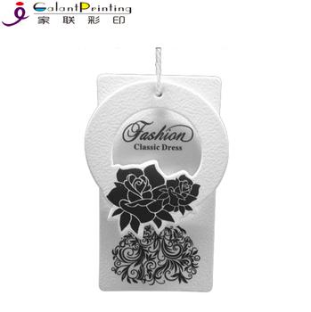 Custom fancy white paper garment clothing die cut embossing sticker hang tag