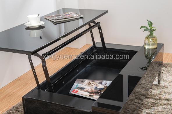 Moderne À Et ascenseur Utilisation Table Salon Spécifique Brillance Apparence Basse Buy Noire Haute WE29DHIY