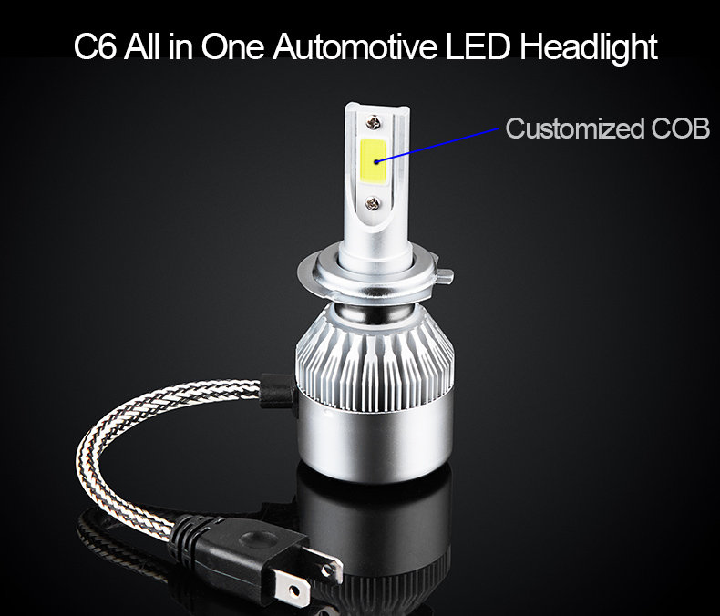 C6 COB H7 High Power Led Headlight Light Car Lamp Dual Color Led H4 For Car