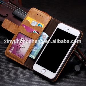 Factory Direct Leather Wallet Case for iphone 7 8 Plus with Hand Strap Credit Card Slots Built-in Kickstand Smart Phone Cover