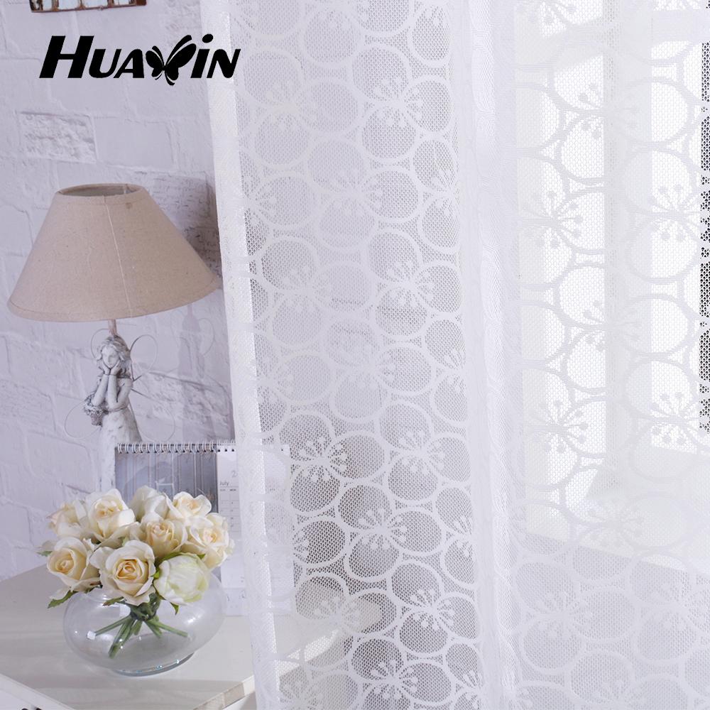 Beautiful Flower Pattern Warp Knitting Lace Curtain Eyelet ...