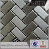 Sample of Silver Brushed Metal Particles Kitchen/Bath Mosaic Tile Self Adhesive