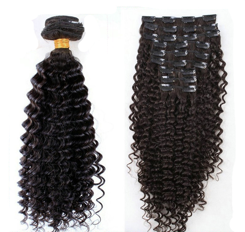 Clip in human hair extensions Brazilian virgin human hair kinky curly clip in hair extensions 100G 9pcs/set Clip-Ins Virgin hair