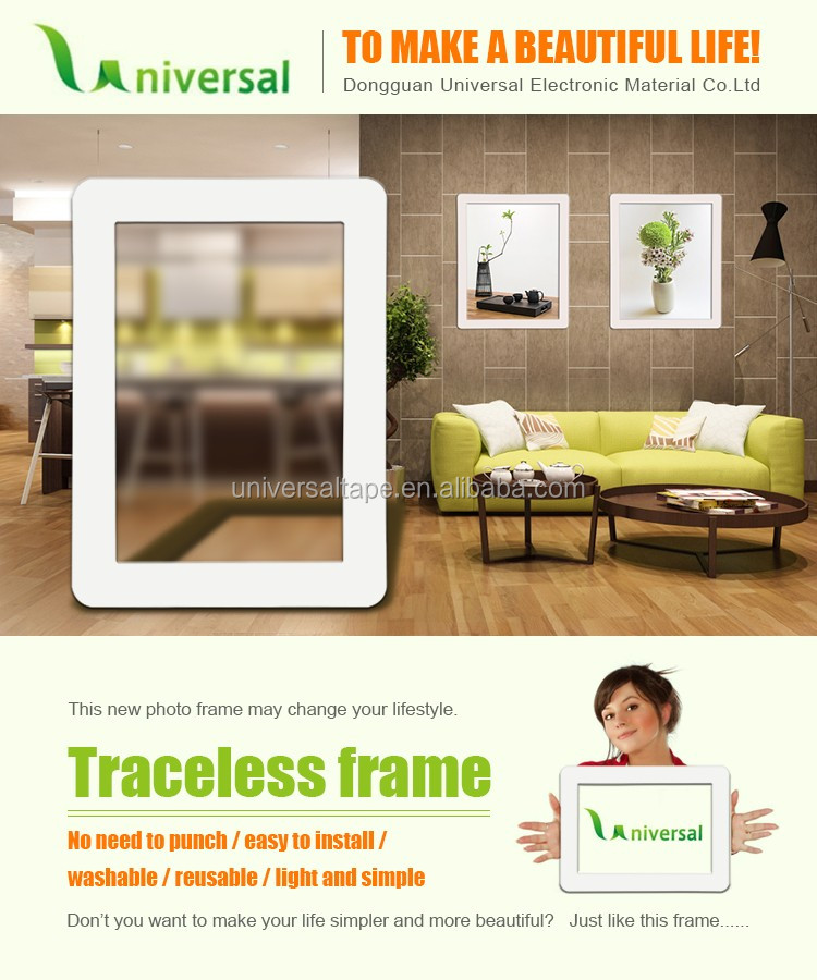 Wholesale cheap self sticker removable and traceless picture frames multi photo frames