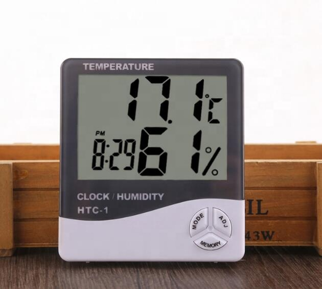HTC-1 Electronic Temperature and Humidity Meter Indoor Hygrometer Large Screen Alarm Clock Hygrometer HTC-1