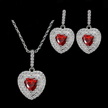 Women's Solid 925 Sterling Silver Purple/Red/White Heart AAA+ Cubic Zirconia CZ Jewelry Sets