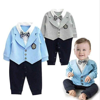 e26a378ecf0a0b Top level hoge kwaliteit baby jongens pak lente stijl jongens kleding set  met strik