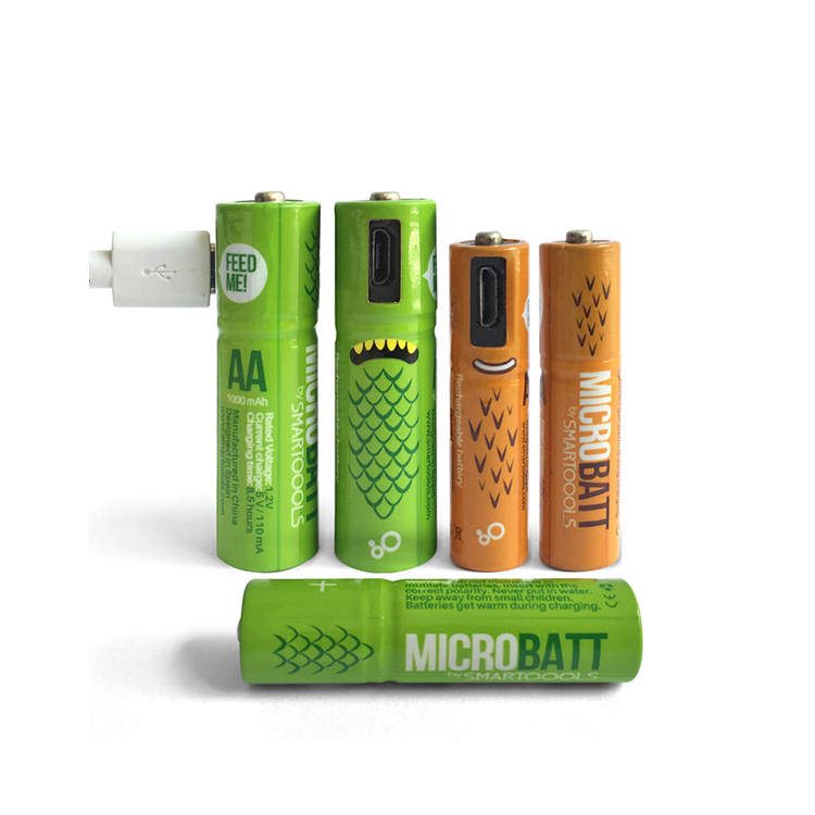 Factory Custom AA Battery 1000mah Rechargeable Micro USB Port charging AAA battery Ni Mh 1.2V