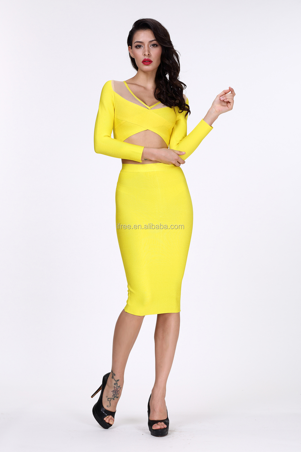 Unik Desain Ifree Kuning Grils Gaun Renda Gaun Pesta Cocktail Dress