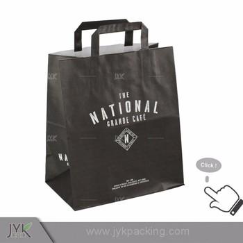 China Supplier Logo Printing Black Kraft Paper Bag With Handle
