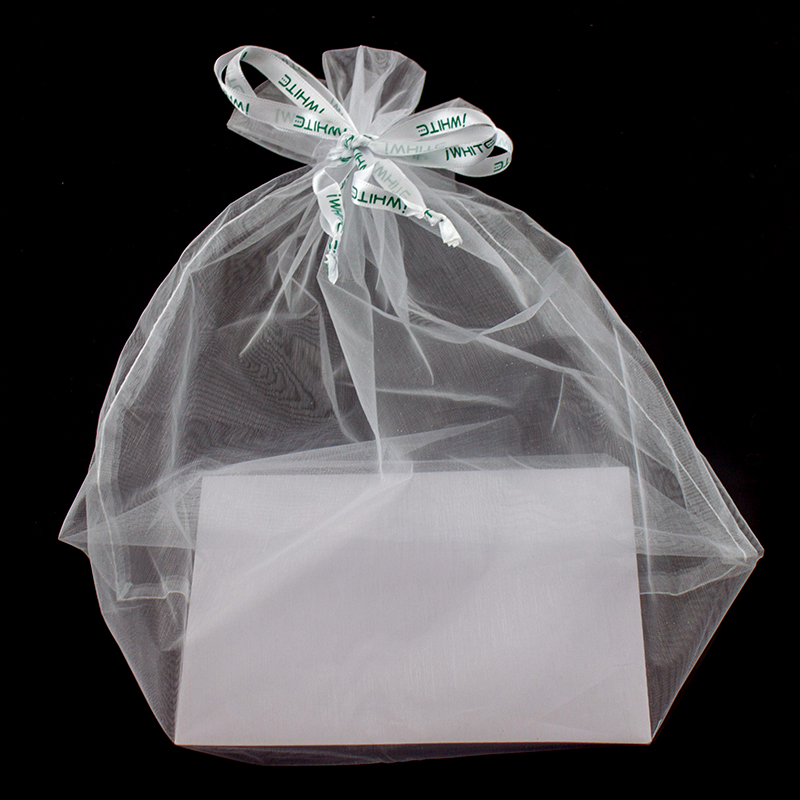 Clear White Custom Drawstring Gift Organza Bag with Logo Ribbon