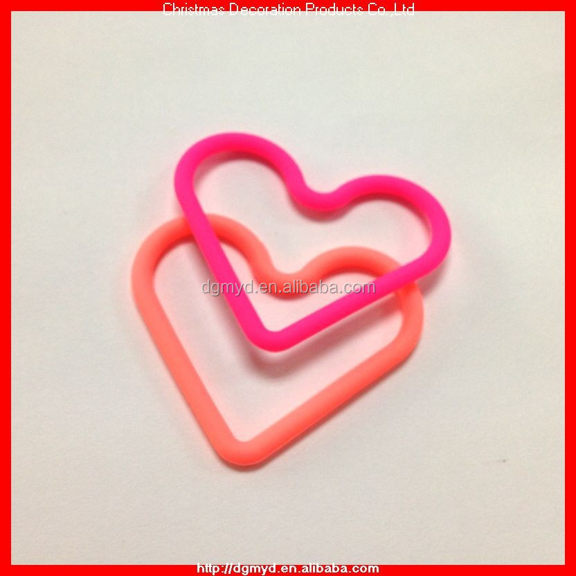 Fluorescent pink heart shape silicone hair band including hand feeling oil (MYD-1134)
