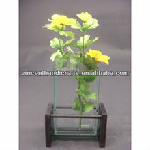 Home decorative small size clear glass floral vase for silk flower
