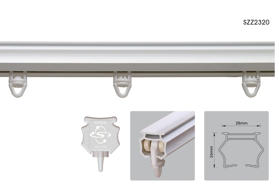 White Plastic Hanging Curtain Rails System,Panel Curtain Track Pvc ...