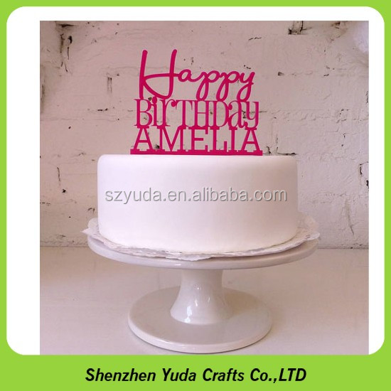 Happy Birthday With Name Cutting Pink Acrylic Personal Cake Topper