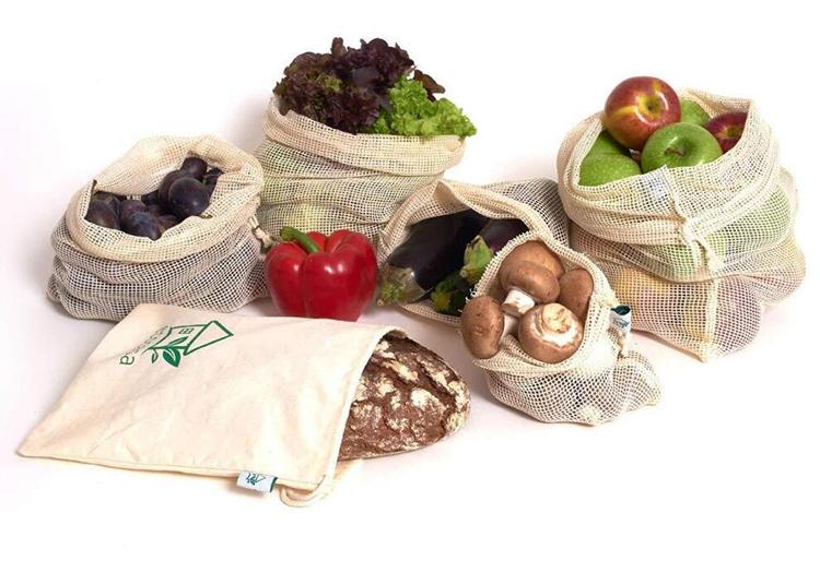 環境にやさしい天然有機綿メッシュ巾着バッグ生成