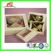 Q1164 China Wholesale Paper Candy Small Clear Lid View Top Boxes With Divider Inserts