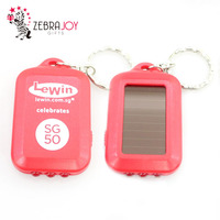 New promo gifts china manufacture red plastic custom name personalized solar led keychain