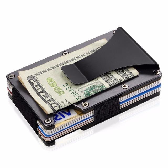 ba1253f46 De aluminio minimalista dinero Clip cartera RFID bloqueo billetera para  hombres