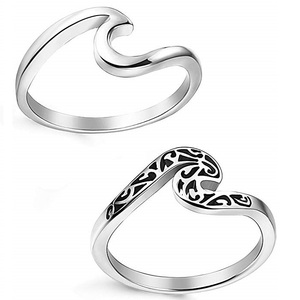 2 Pcs Stainless Steel Beach Rings for Women Girls Ocean Wave Ring Size 5-11