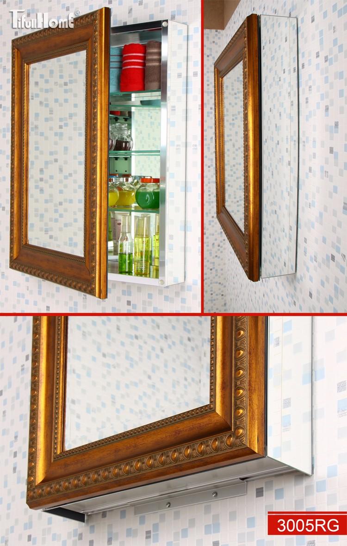 European style antique waterproof bathroom mirror cabinet for Waterproof bathroom cabinets