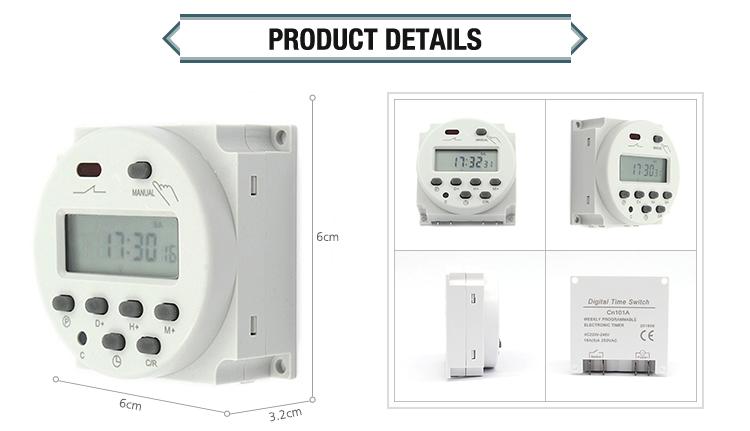 12 ボルトミニボルト DC DIN レールアナログオン/オフ 24 時間プログラム可能なデジタル街路灯時間タイマー、 AC タイマー